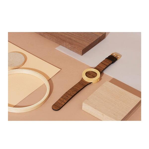 Drevené hodinky s hodinovými čiarkami Analog Watch Co. Teak & Bamboo