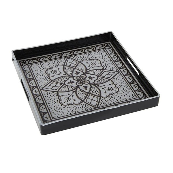 Plastový podnos Black and White, 35x35 cm