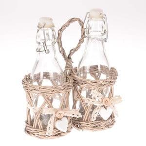 Sada 2 pohárov na ocot a olej v košíku Willow