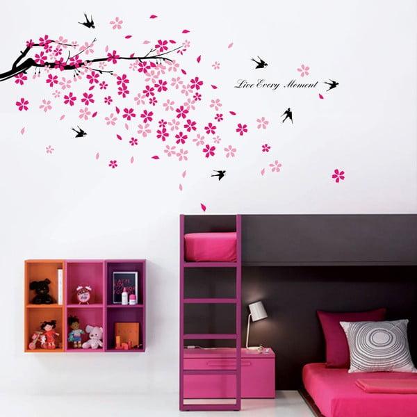 Samolepka na stenu Ružová kvetinka