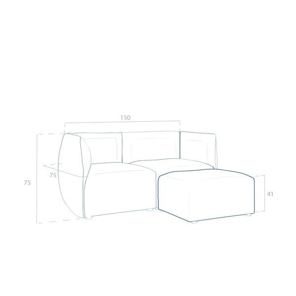 Béžová pohovka pre dvoch s podnožkou VIVONITA Cube Sawana