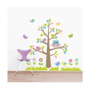 Samolepka Farebný strom a zvieratká, 70x50 cm