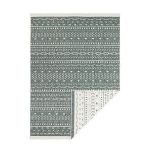 Zeleno-krémový obojstranný vysokoodolný koberec Bougari Twin Supreme Daro, 80×150 cm