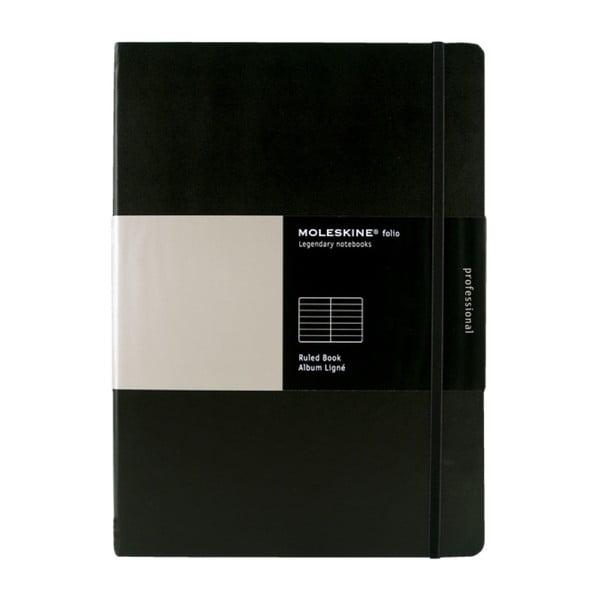 Zápisník Moleskine Folio Book, čierny + linkované stránky
