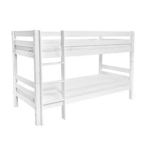 Biela detská poschodová posteľ z masívneho bukového dreva Mobi furniture Mark, 200×90cm
