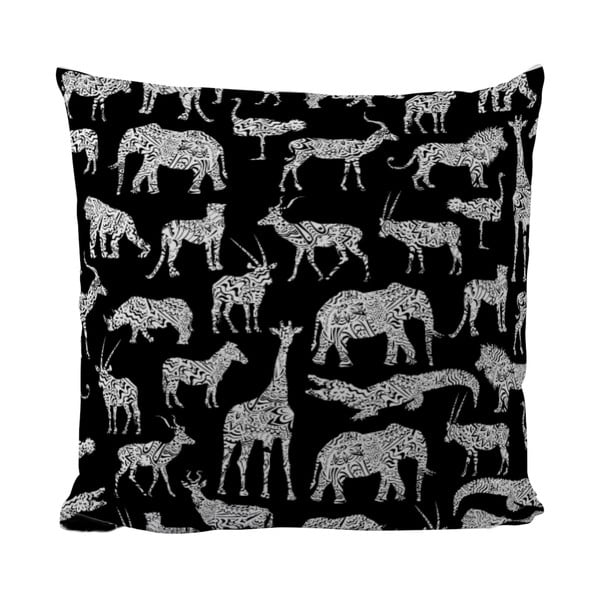Vankúšik Black Shake African Animals, 40x40 cm
