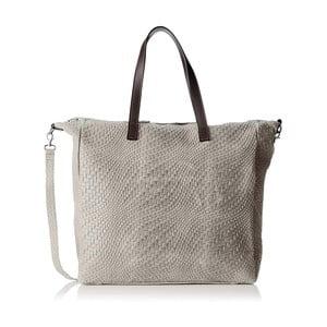 Sivá kožená kabelka Chicca Borse Pullo