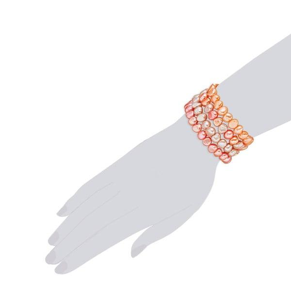 Oranžový perlový náramok Nova Pearls Copenhagen Laris