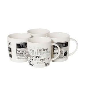 Sada 4 porcelánových hrnčekov Tea and Coffee