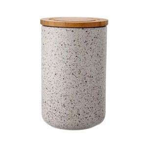 Sivá keramická dóza s bambusovým vekom Ladelle Speckle, výška17 cm