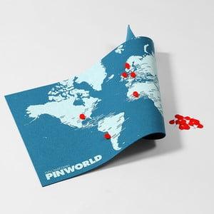 Modrá nástenná mapa sveta Palomar Pin World Mini, 77 x 48cm