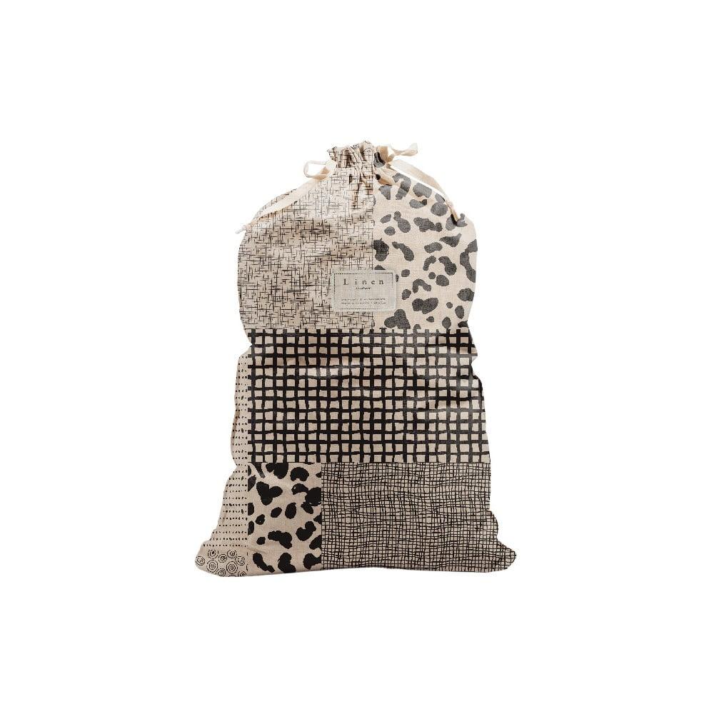 Látkový vak na bielizeň s prímesou ľanu Linen Couture Bag Leopard, výška 75 cm
