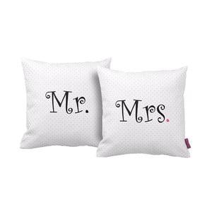 Sada 2 vankúšov Mr&Mrs, 43 x 43 cm