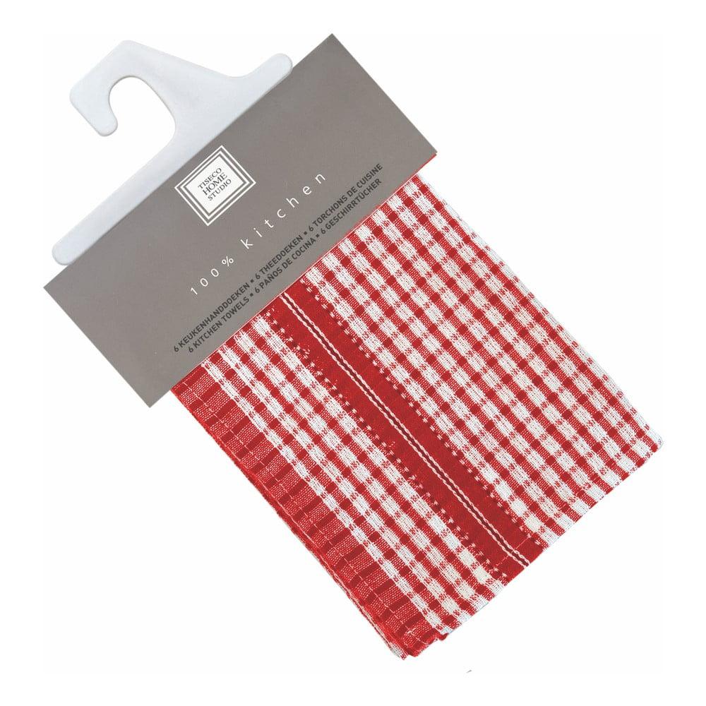 Sada 6 červených bavlnených utierok Tiseco Home Studio Waffle, 46 × 70 cm
