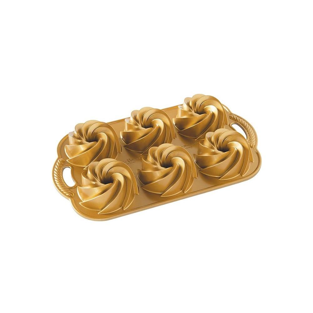 Forma na minibábovky v zlatej farbe Nordic Ware Mini Rondo, 950 ml