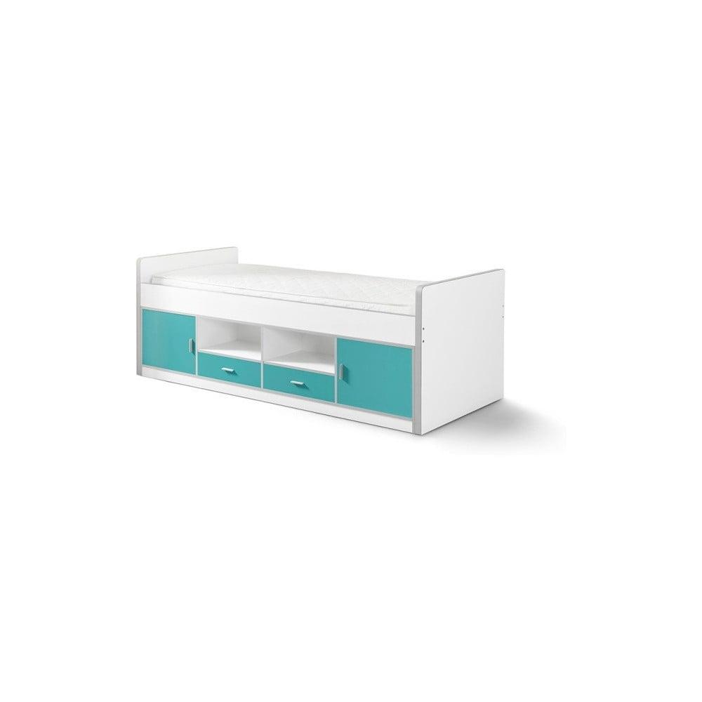 Tyrkysová detská posteľ s úložným priestorom Vipack Bonny, 200 × 90 cm