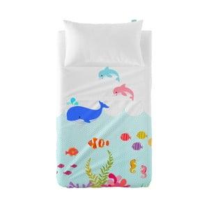 Set plachty a obliečky na vankúš Little W Under The Sea, 120×180cm