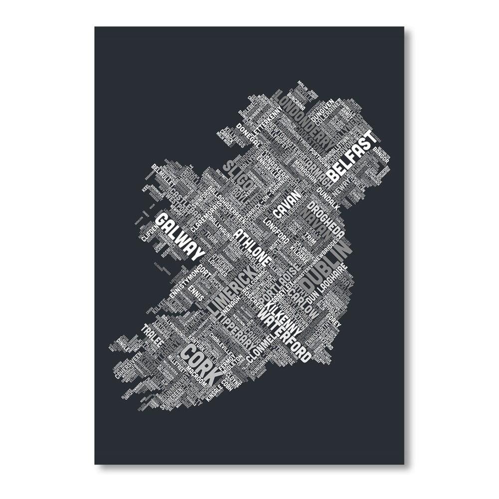 Čierny plagát s mapou Írska Americanflat Towns, 60 × 42 cm