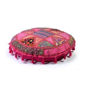 Ručne vyšívaný meditačný vankúš Rajastan, ružový