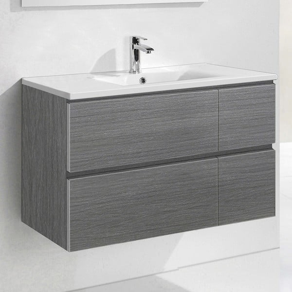 Kúpeľňová skrinka s umývadlom a zrkadlom Monza, odtieň sivej, 120 cm