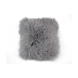 Sivý vlnený vankúš z ovčej kožušiny Auskin Cait, 35×35 cm