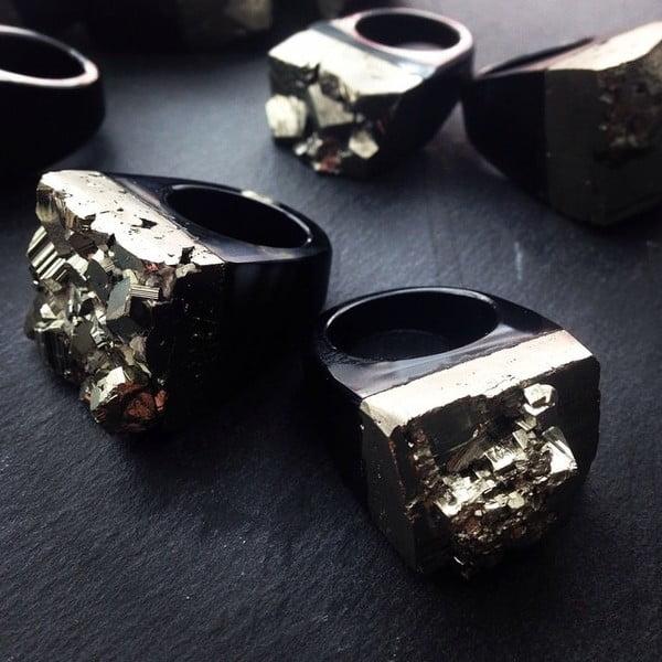 Prsteň z pyritu a achátu Decadorn, veľ. L