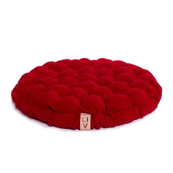 Tmavočervený sedací vankúšik s masážnymi loptičkami Linda Vrňáková Bloom, Ø65cm