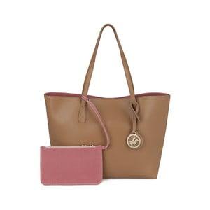 Svetlohnedá kabelka s ružovým vnútrom Beverly Hills Polo Club Celeste