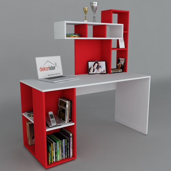 Pracovný stôl Coral White/Red, 60x140x153,8 cm