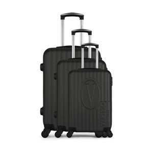 Sada 3 tmavosivých cestovných kufrov na kolieskach VERTIGO Cadenas Integre Roues
