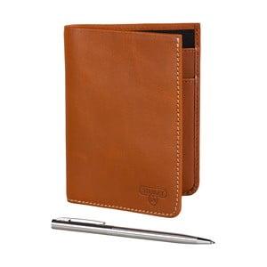 Hnedá kožená peňaženka s guľôčkovým perom Stanley Tools