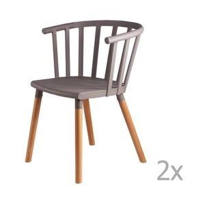 Sada 2 svetlosivých jedálenských stoličiek sdrevenými nohami sømcasa Jenna