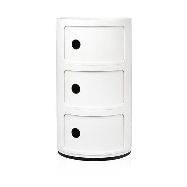Biely stolík s 3 zásuvkami Kartell Componibili