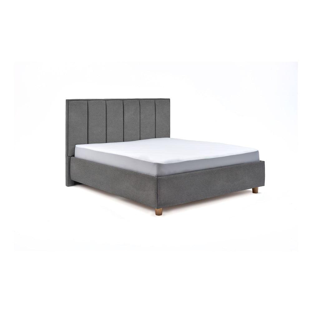 Svetlosivá dvojlôžková posteľ s roštom a úložným priestorom PreSpánok Wega, 180 x 200 cm