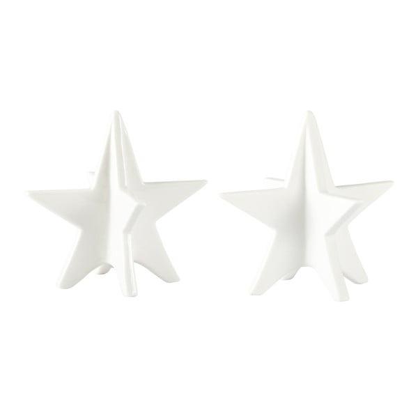 Sada 2 dekoratívnych hviezd KJ Collection White Matt, 13 cm