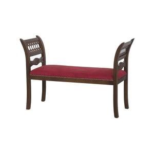 Červená polstrovaná lavica s dekorom orechového dreva