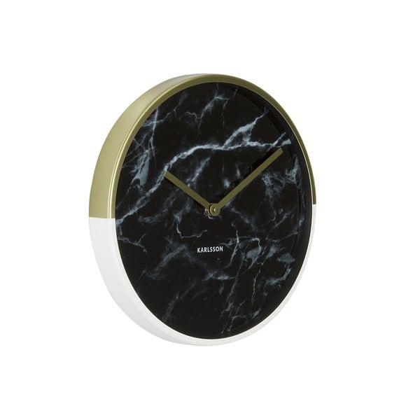 Nástenné hodiny s ručičkami v zlatej farbe Karlsson Marble Delight