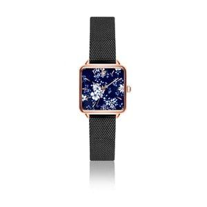 Dámske hodinky s remienkom z antikoro ocele v čiernej farbe Emily Westwood Square
