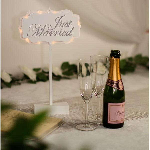 Svadobná dekorácia na stôl s LED svetielkami Married