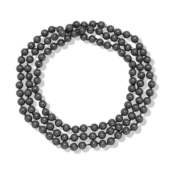 Sivý perlový náhrdelník Mara de Vida Long Night, dĺžka 90cm