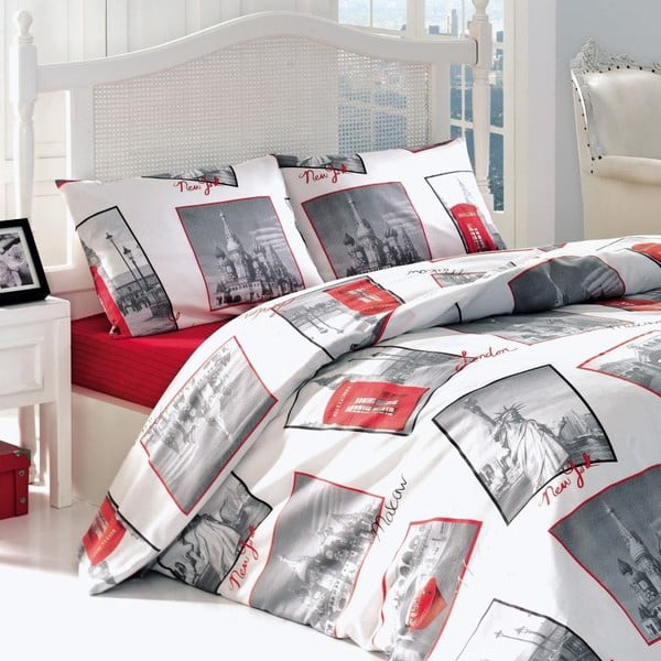 Obliečky City Time Red, 240x220 cm