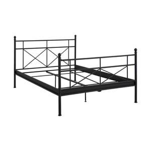 Čierna kovová dvojlôžková posteľ Støraa Tanja, 140 x 200 cm