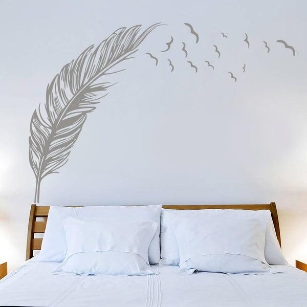 Samolepka na stenu  Pierko a vtáky, 70x50 cm