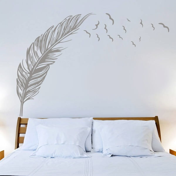 Samolepka Pierko a vtáčiky, 70x50 cm