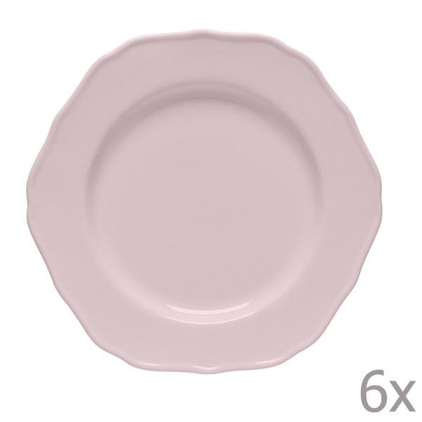 Sada 6 dezertných tanierov Glamour Rosa