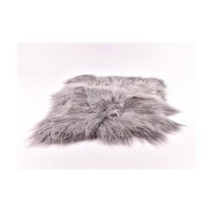Sivý kožušinový koberec s dlhým chlpom, 90 x 80 cm