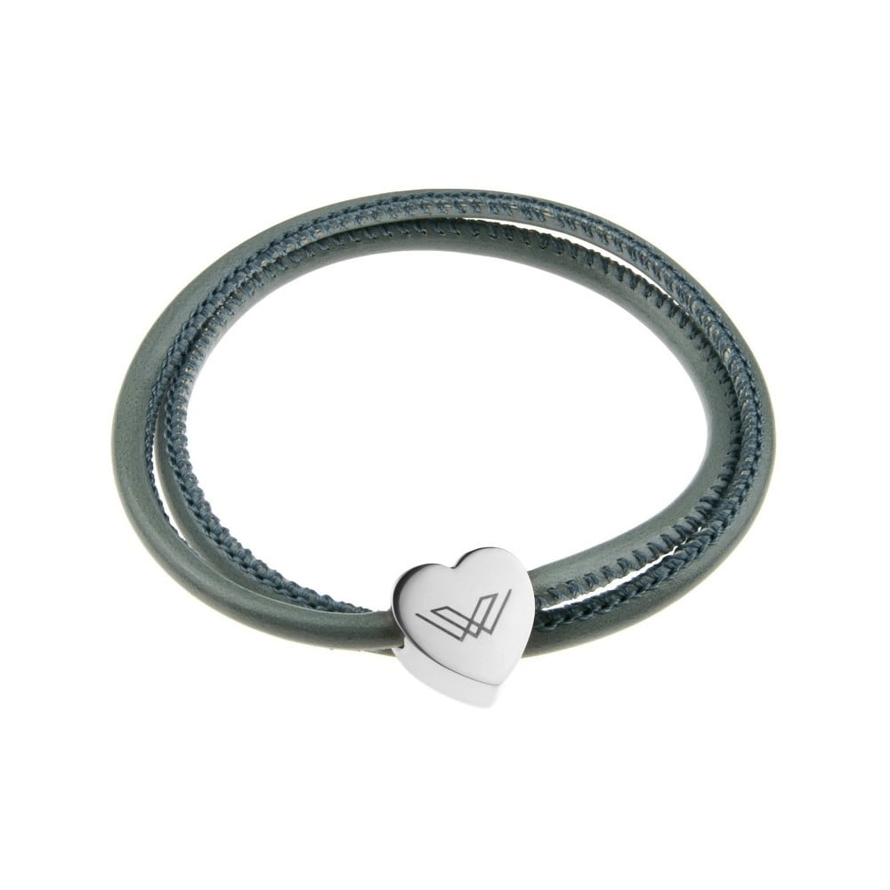 209efe2d1 Sivý kožený náramok v striebornej farbe Victoria Walls Heart