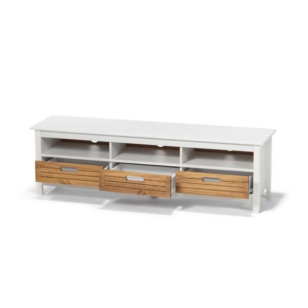 Biela TV komoda z borovicového dreva s 3 zásuvkami loomi.design Ibiza
