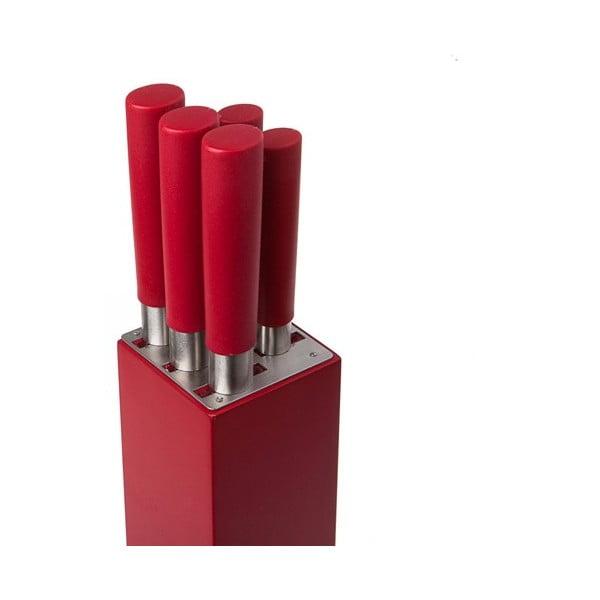 Stojan s nožmi Home Bistro, červený