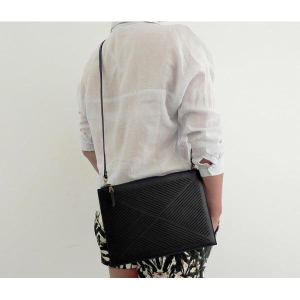 Taška cez rameno/listová kabelka Cut Out, čierna